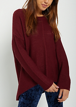 Burgundy High Low Ribbed Front Sweater