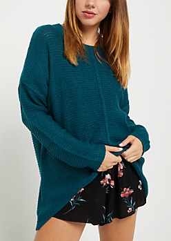 Teal High Low Ribbed Front Sweater