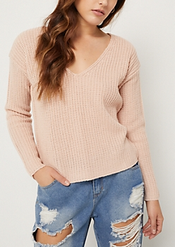Light Pink Boxy Knit Sweater