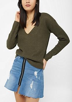 Olive Boxy Knit Sweater