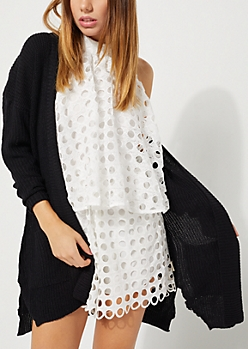 Black Rib Knit Long Cardigan