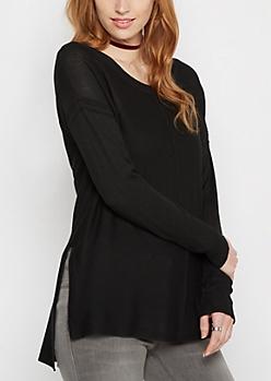 Black Center Seam Tunic Sweater