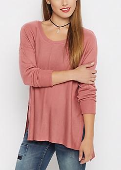 Light Pink Center Seam Tunic Sweater