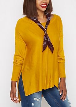 Mustard Yellow Center Seam Tunic Sweater