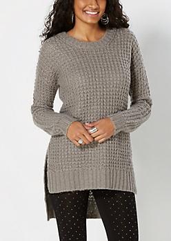 Gray Chunky Waffle Knit Sweater