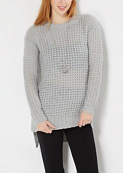 Light Gray Chunky Waffle Knit Sweater