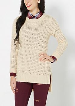 Cream Chunky Waffle Knit Sweater