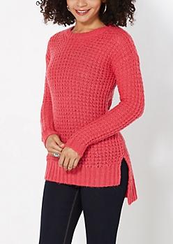 Pink Chunky Waffle Knit Sweater