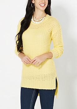 Yellow Chunky Waffle Knit Sweater
