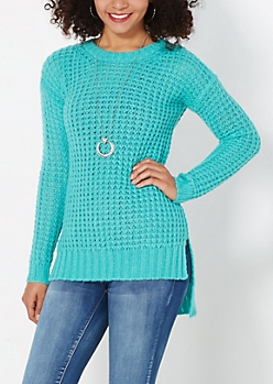Teal Chunky Waffle Knit Sweater