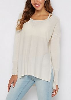 Gray Exposed Seam Sweater