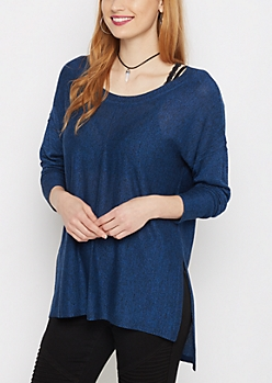 Blue & Black Marled Exposed Seam Sweater