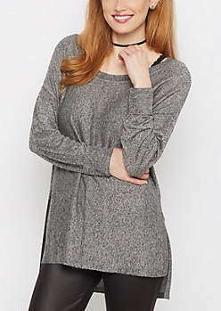 Black Marled Exposed Seam Sweater