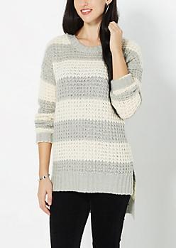 Light Gray Striped Waffle Knit Sweater