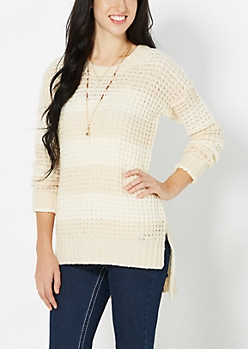 Ivory Striped Waffle Knit Sweater