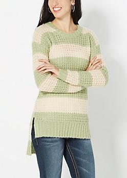 Green Striped Waffle Knit Sweater