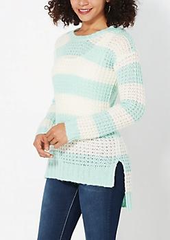 Mint & Cream Striped Waffle Knit Sweater