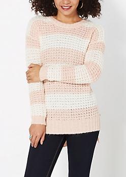 Pink Striped Waffle Knit Sweater