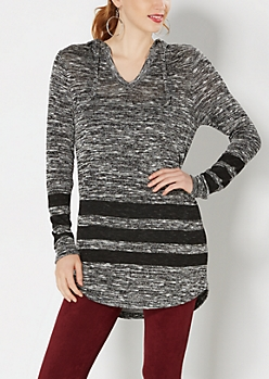 Gray Striped & Marled Knit Hoodie