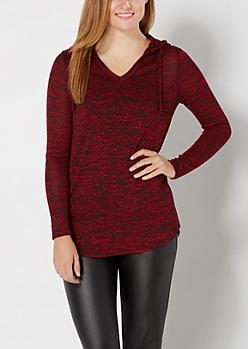 Red Marled Knit Hoodie