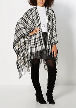 Grayscale Plaid Blanket Wrap