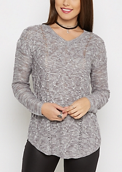 Gray Marled Cable Knit Sweater