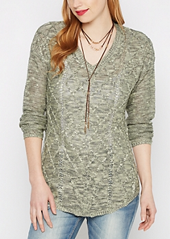 Green Marled Cable Knit Sweater