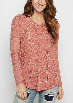 Dark Pink Marled Cable Knit Sweater