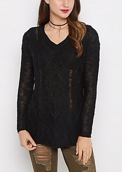 Black Cable Knit Shirttail Sweater