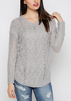 Gray Cable Knit Shirttail Sweater