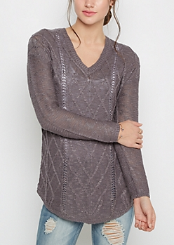 Charcoal Cable Knit Shirttail Sweater