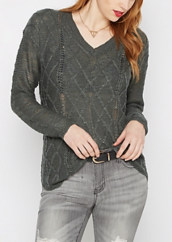 Dark Green Cable Knit Shirttail Sweater