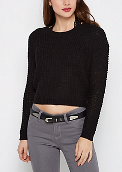 Black Cropped Waffle Knit Sweater