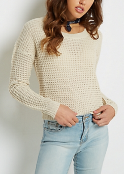 Ivory Cropped Waffle Knit Sweater