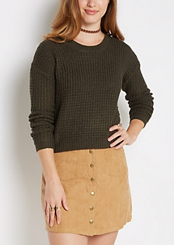 Olive Cropped Waffle Knit Sweater