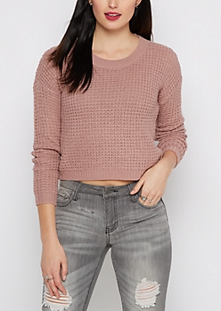 Lavender Cropped Waffle Knit Sweater
