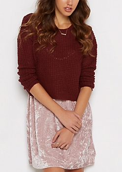 Burgundy Cropped Waffle Knit Sweater