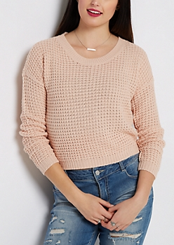Pink Cropped Waffle Knit Sweater