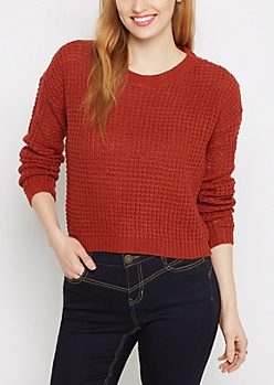 Burnt Orange Cropped Waffle Knit Sweater