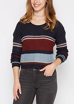 Navy Striped Cropped Waffle Sweater