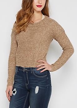 Tan Marled Waffle Knit Cropped Sweater