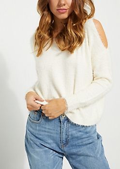 Ivory Cold Shoulder Eyelash Sweater