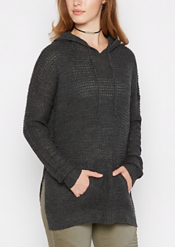 Charcoal Waffle Knit Hoodie
