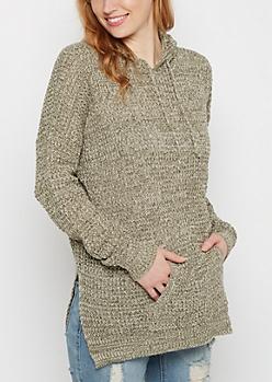 Olive Marled Waffle Knit Hoodie