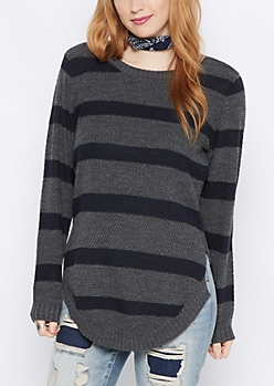 Charcoal Striped Waffle Knit Shirttail Sweater