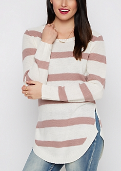 Pink Striped Waffle Knit Shirttail Sweater