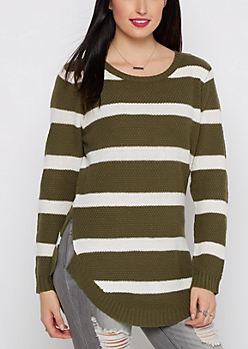 Olive Striped Waffle Knit Shirttail Sweater