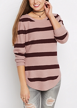 Purple Striped Waffle Knit Shirttail Sweater
