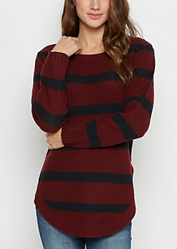 Burgundy Striped Waffle Knit Shirttail Sweater