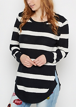 Black Striped Waffle Knit Shirttail Sweater